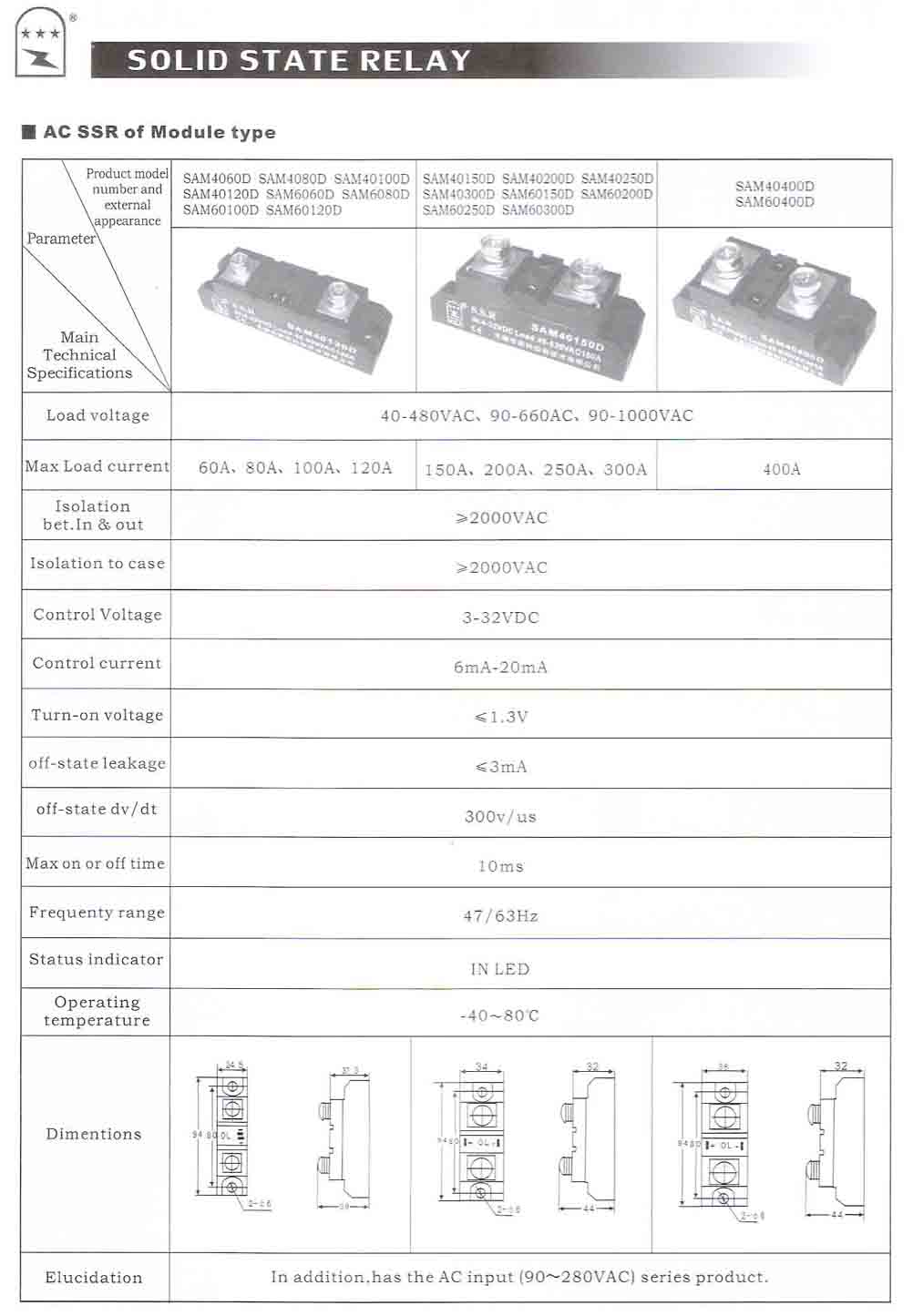 Solid State Relay Sam4060d Sam40400d Wuxi Gold Control Voltage Click Here For Details