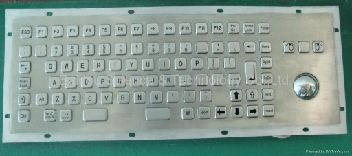 Industrial Stainless Steel Metal Kiosk Keyboard with trackball or touchpad KB6 Series - metal keyboard serie