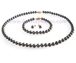 6-7mm AA+ Cultured Round White, Black, Pink or Lavender Pearl Complete Matching Set, 925 Sterling Silver or 14k Gold Clasp