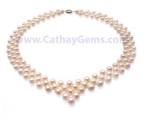 6-7mm Genuine Pearl Necklace Bib in White, Pink or Mauve with a 925 Sterling Silver or 14k Gold Clasp