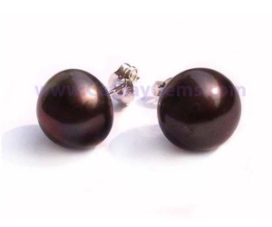 Genuine Freshwater White, Pink, Mauve, Black or Silver Grey Pearl Stud Earrings in a 925 Sterling Silver Setting