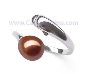 Genuine Drop Pearl Adjustable Ring in 925 Sterling Silver Dolphin Designer, 5 Colors of Pearls