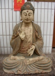 Wood Carving Seated Buddha Statue