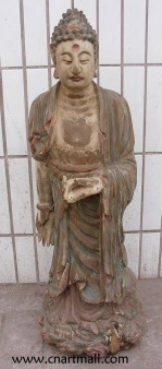 Wood Carving Standing Buddha Statue