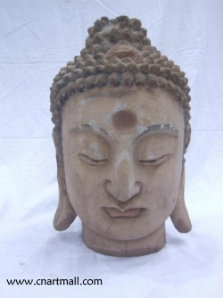 Wood Carving Buddha Head Statue