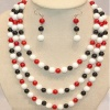 The 6-9mm coral beads & tridacna necklace & earring set - CR-001