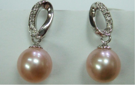 Elegant 14K Cultural Pearl with diamond Earring