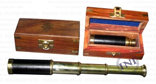 Brass Telescope in Wooden Box