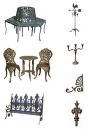 Cast iron patio furniture,outdoor furniture,bench,chair,weather van,candle holder,brasket,finals