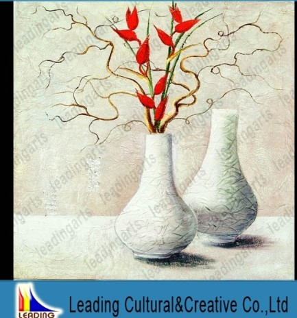 ceramic porcelain handmade original canvas flower vase oil painting - S-