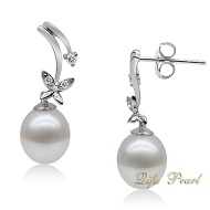 925 Silver Earring with 8-8.5mm Freshwater Pearl