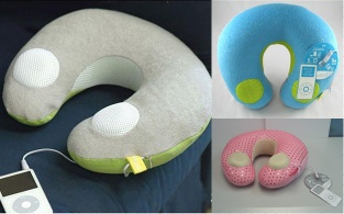 music neck pillow ,music pillow,mp3 pillow,speaker pillow,ipod pillow