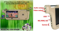 SunVisor car DVD player,DIVX,USB/SD/MMC/GAME Player - CAV-8066B