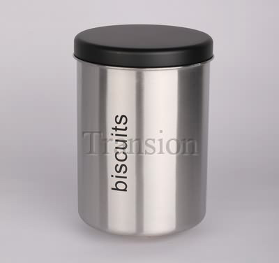 Stainless Steel tea canister with black powder coated sheet iron lid (
