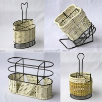 rattan condiment holder, wicker cutlery holder
