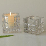 Square Glass Candle Holders in High Clear Color