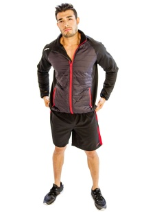 Men's Black Gym Jacket With Red Borders - M006