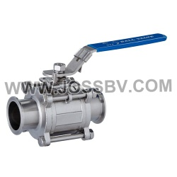 Three-Piece Sanitary T-Clamp Ball Valve With ISO5211 Mounting Pad - NO. JOBV-1003