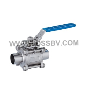 3-Piece Sanitary Ball Valve Butt Weld with ISO5211 Mounting Pad - NO. JOBV-1004