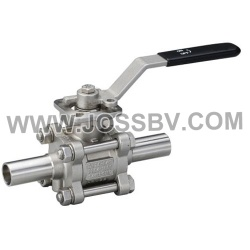 Three-Piece Sanitary Butt Weld High Cycle Direct Mount Ball Valve - NO. JOBV-1006