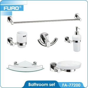Wall mounted brass chrome bathroom accessory set - FA-22700