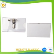 PVC clear badge holder with pin and clip - HY-BH055