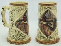 Hot Sale and Whole sale Hand Painted and Embossed Ceramic Beer Mug with decal