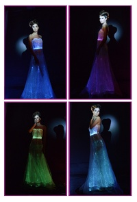 New luminous evening dress, illuminated evening gown - luminous dress