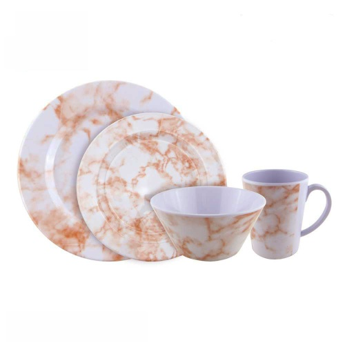 High grade marbling plastic plate bowl melamine dinner set dinnerware with mug cup - https://www.alibaba.