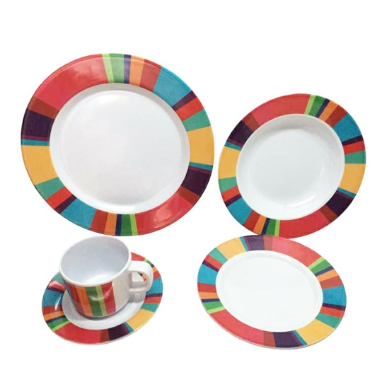 Wholesale color wheel print melamine plates 20 pcs round bowl rainbow dinner set with coffee cup - https://www.alibaba.