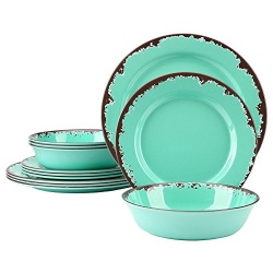 Multi color 3pcs retro rust plates customized design dinnerware melamine dinner sets in india - https://www.alibaba.