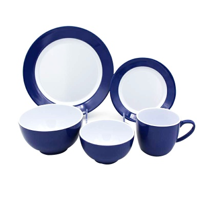 Good sales melamine tableware blue rim white plates soup bowl coffee cup melamine plastic dinner set - https://www.alibaba.
