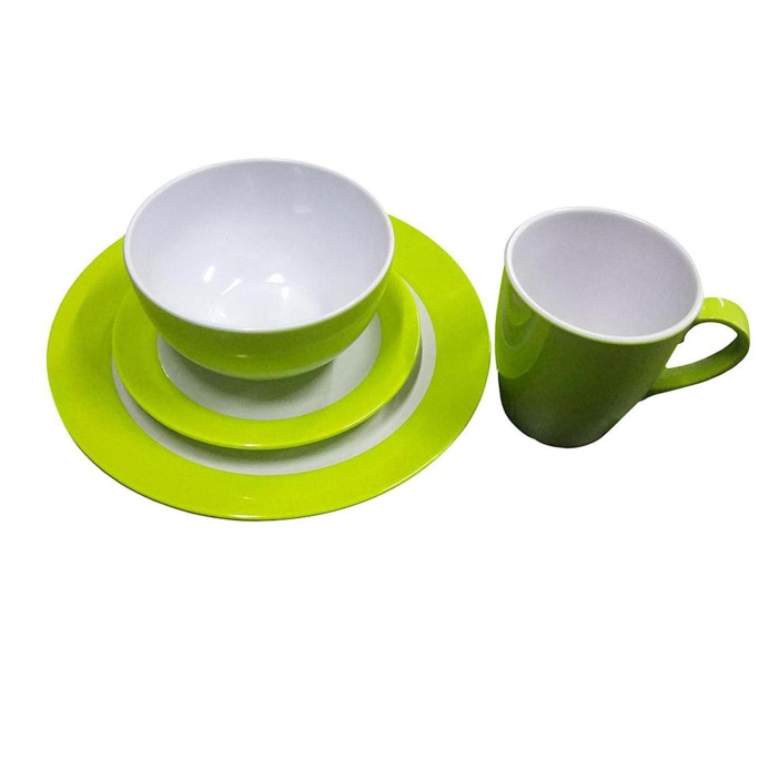 Customized print green plates super ware melamine qatar unbroken dinner set - https://www.alibaba.