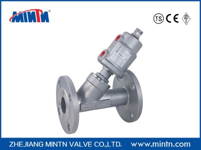 Pneumatic angle seat valve flange connection - mintnvalve