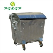 1100L outdoor urban wheelie hot dip galvanized waste container - PG-1100L-1