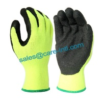 [Care] 10 gauge Hi-Viz orange brushed acrylic liner, black latex palm coating, Warm work glove - CIL1301