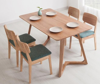 Northern Europe creative leisure solid wood V shape dining table - Sanlang-029