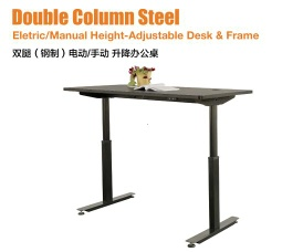 Electric/Manual Height-Adjustable Desk & Frame - Double Column Steel