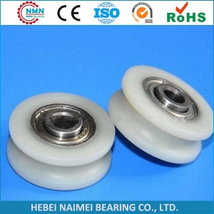 plastic roller bearing pulley with bearing v u groove convex