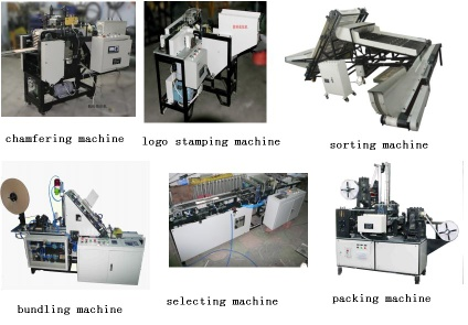 Tongue depressor chamfering machine, sorting machine, ordering machine, selecting machine, branding machine, bundling machine