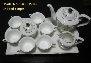 Golden Porcelain Coffee Set with Tray - SA-D-TS003