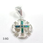925 sterling silver opal Jewish cross pendent - 620P0927