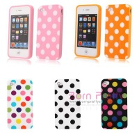 1pc Polka Dot TPU Rubber Skin Case Cover For Apple IPhone 4 4S - 5 Colors - 3792