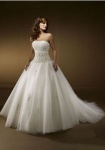Ball Gown Strapless Beading Organza Wedding Dress