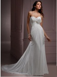 Column/Sheath Sweetheart Court Train Chiffon Wedding Dress