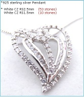 Wholesale fashion heart shape mould design pure clear AAA 925 sterling silver(P3090)