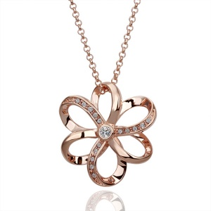 18K Six Petal Flower Alloy Necklace With Austrian Crystal Titanium - 18KRGPN090