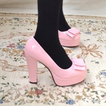2012 sweet crude double-layer bowknot thick heel pumps - Z0117 pink