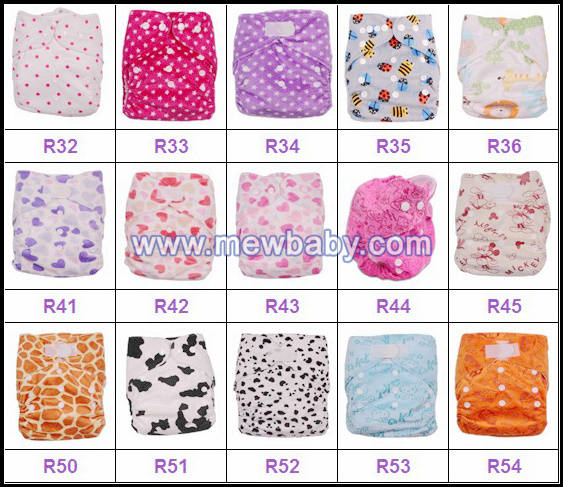 NEW Printed Mewbaby One Size Pocket Cloth Diapers Nappies