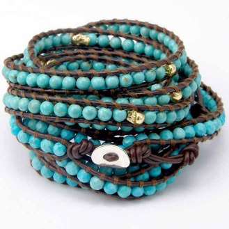 Leather beaded wrap bracelets